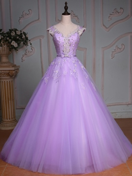 Ericdress V-Neck Ball Gown Cap Sleeves Beading Lace Sequins Floor-Length Quinceanera Dress