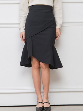 Ericdress Solid Color Vintage Frill Skirt