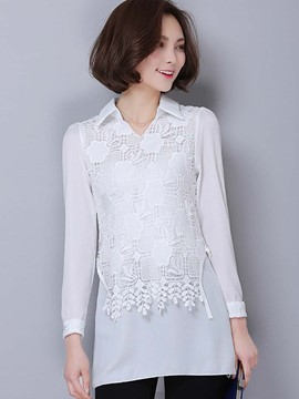 Ericdress Lace Overlay Plain Blouse