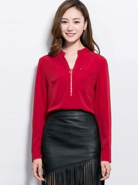 Ericdress Red V-Neck Zipper Blouse