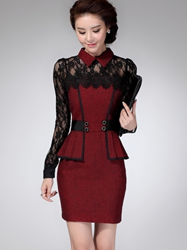 Ericdress Lace Patchwork Double-Layer Bodycon Dress