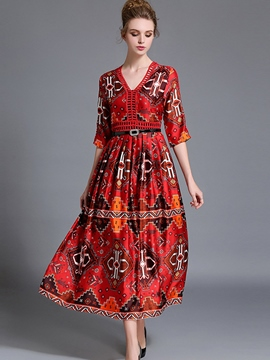 Ericdress Print V-Neck Expansion Maxi Dress
