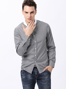 Ericdress Plaid Stand Collar Men's Shirt