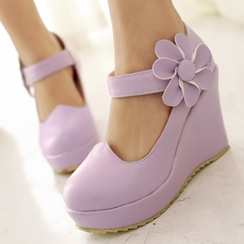 Ericdress Cute Flower Round Toe Wedges