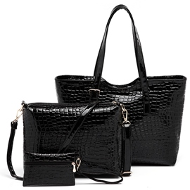 Ericdress Croco-Embossed Patent Leather Handbags(3 Bags)