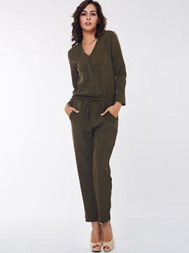 Ericdress Solid Color Long Sleeve Jumpsuits Pants