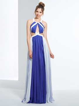 Ericdress Halter A-Line Hollow Pleats Floor-Length Prom Dress