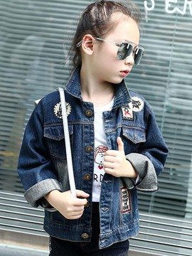 Ericdress Denim Badge Patch Worn Girls Outerwear