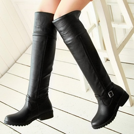 Ericdress PU Buckles Knee High Boots