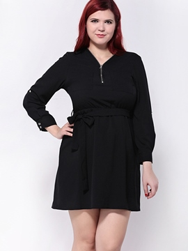 Ericdress Plus-Size Zipper V-Neck Casual Dress