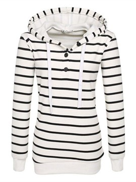Ericdress Color Block Stripped Lace-Up Hoodie