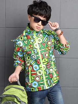 Ericdress Colored Printing Removable Hat Boys Outerwear