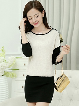 Ericdress Color Block Round Neck Korean Style Sweater Dress