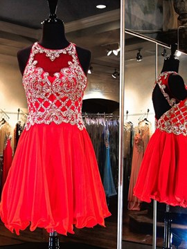 Ericdress A-Line Jewel Neck Beaded Ruched Short Homecoming Dress