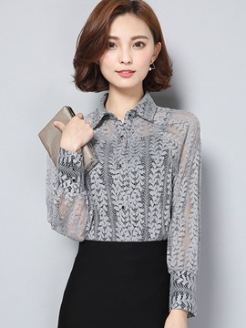 Ericdress Solid Color Lace See-Through Blouse