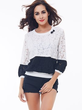 Ericdress Color Block Lace Patchwork Casual Blouse