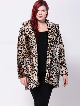 Ericdress Loose Plus Size Leopard Coat