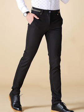 Ericdress Mid-Length Straight Slim Formal Men's Pants