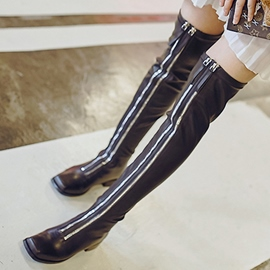 Ericdress Black Front Double Zipper Thigh High Boots