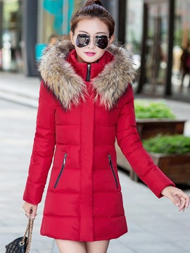 Ericdress Straight Solid Color Plus Size Coat