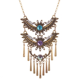 Ericdress Colorful Crystal Tassel Necklace