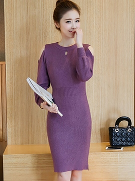 Ericdress Plain Cold Shoulder Long Sleeve Sweater Dress