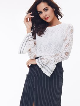 Ericress White Floral Crochet Blouse
