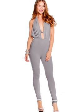 Ericdress Sexy Halter Backless Jumpsuits Pants