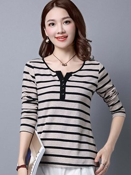 Ericdress Stripe Casual T-Shirt