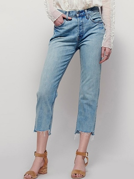 Ericdress Solid Color Raw Edges Nine Points Jeans
