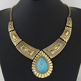 Ericdress Water Droplets Turquoise Pendant Necklace