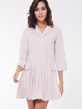 Ericdress Plain Pleated Double-Layer Three-Quarter Sleeve Casual Dress