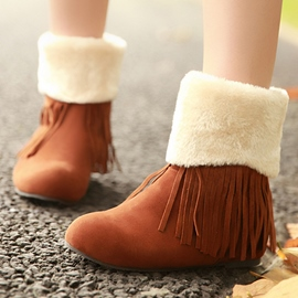 Ericdress Warm Fringe Snow Boots