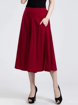 Ericdress Solid Color Pleated Skirt