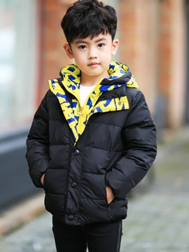 Ericdress Colored Printing Hooded Patch Down Jacket Boys Outerwear