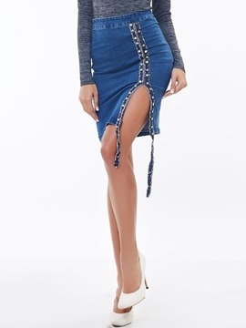 Ericdress Fashion Split Denim Skirt