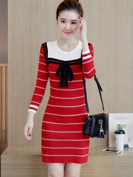 Ericdress Stripe Bowknot Long Sleeve Bodycon Dress