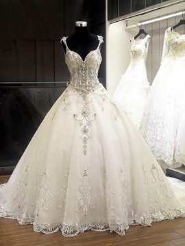 Ericdress Luxury Straps Beaded Ball Gown Wedding Dress