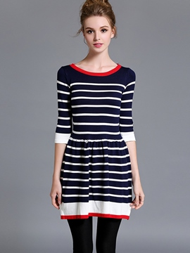 Ericdress Stripe Three-Quarter Sleeve Sweater Dress