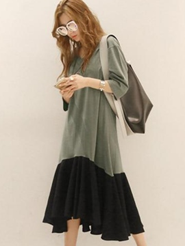 Ericdress Color Block Asymmetric V-Neck Maxi Dress