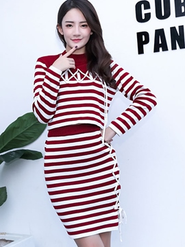 Ericdress Sweet Stripe Knitwear Two-Piece Suit