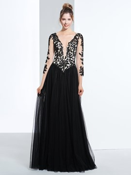 Ericdress A-Line V-Neck 3/4 Length Sleeves Appliques Beading Prom Dress