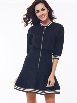 Ericdress Zipper Patchwork Half Sleeve Casual Dress