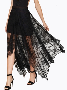 Ericdress Irregular Lace See Through Skirt
