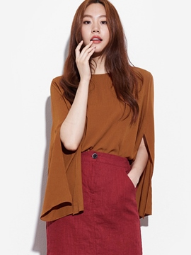 Ericdress Brown Flare Sleeve Blouse