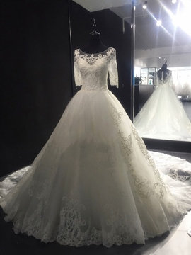 Ericdress Beautiful Scoop Appliques Court Train Ball Gown Wedding Dress