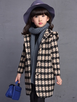 Ericdress Lattice Woolen Fabric Button Hooded Girls Outerwear