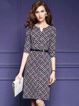 Ericdress Plaid Belt Pocket Sheath Dress
