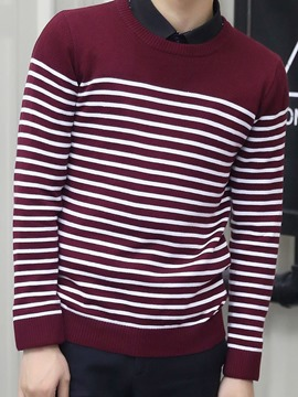 Ericdress Vogue Stripe Crew Neck Men's Sweater