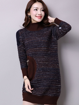 Ericdress Turtleneck Patchwork Loose Sweater Dress